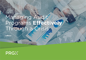 ebook cover that says Managing Audit Programs Effectively Through a Crisis and has hands holding printed charts